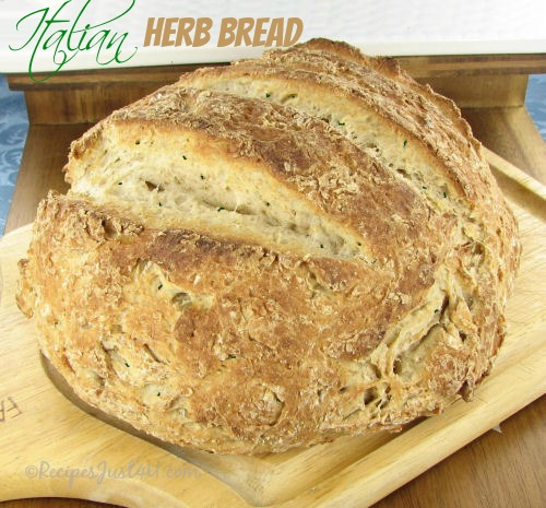 Crusty herbed Italian bread - fresh from the oven. So great with homemade soup.