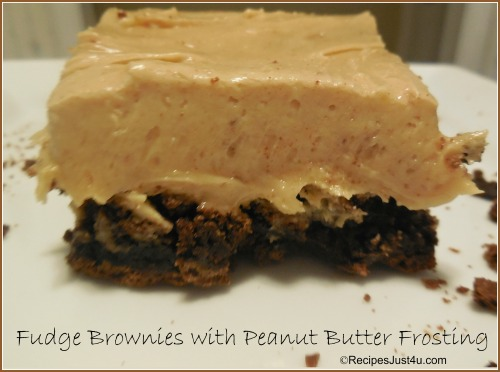 Fudge Brownies with Peanut Butter Frosting - Recipes Just 4U
