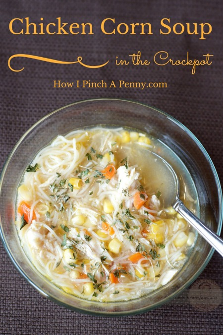 Slow cooker chicken corn soup from lowipinchapenny.com