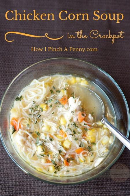 Slow cooker chicken corn soup from lowipinchapenny.com