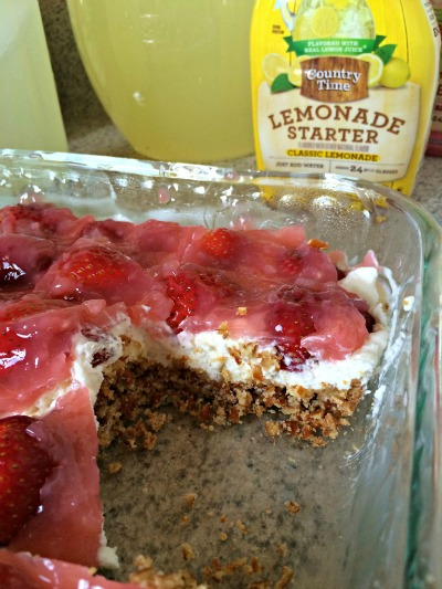 Lemonade and strawberry pretzel dessert from livingasunshinelife.com