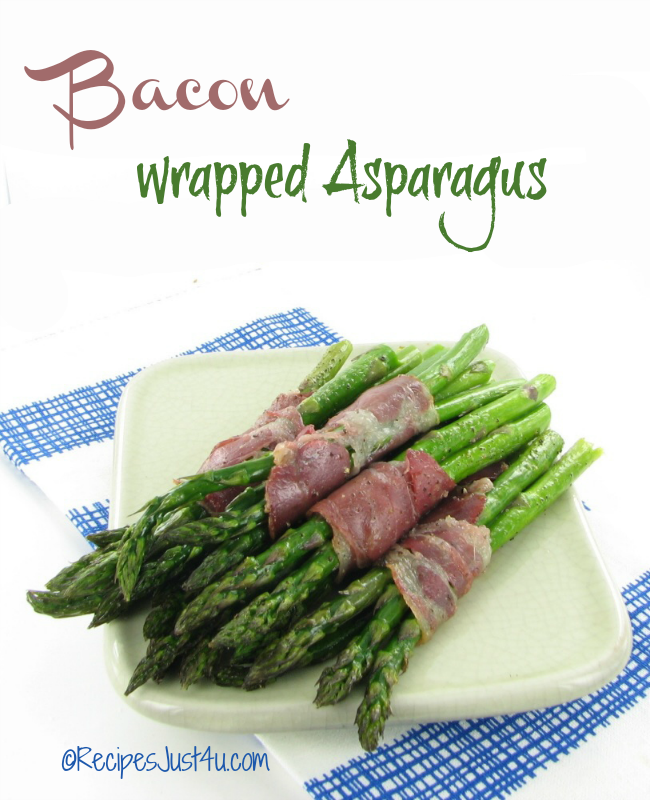 Bacon Wrapped Asparagus - recipesjust4u.com/bacon-wrapped-asparagus