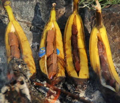Bake bananas for a campfire treat