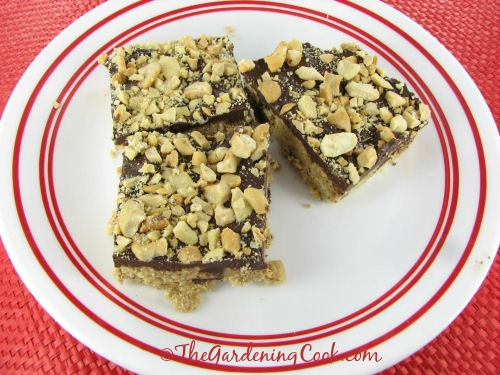 no bake peanut butter chocolate bars from thegardeningcook.com