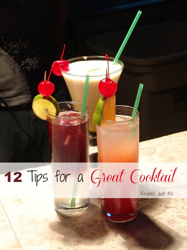 Be the perfect bartender at your next party with these 12 tips for making a great cocktail.