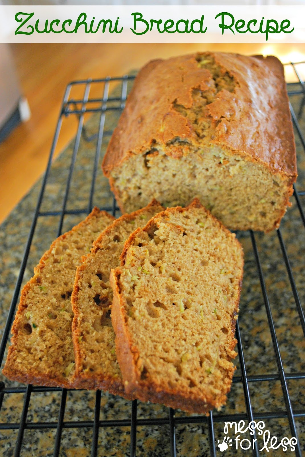 Healthy zucchini Bread recipe from messforless.net