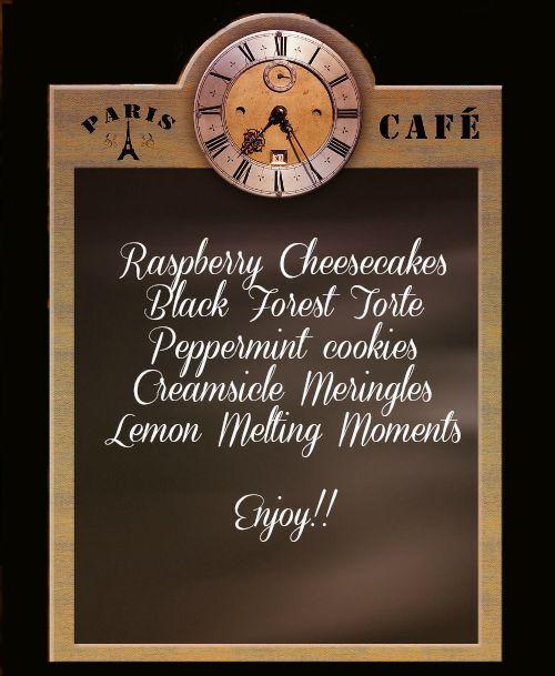dessert table menu