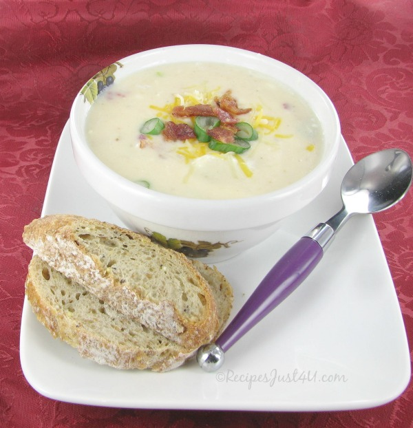 Potato and cheddar soup with bacon