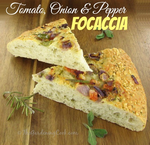 Tomato onion focaccia bread from thegardeningcook.com