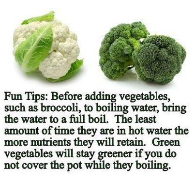 Bring water to a boil before adding veggies.