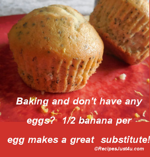 1/2 banana per egg makes a good substitute when you are baking and run out of eggs.