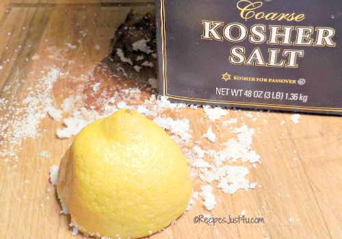 lemon and salt cleans a chopping board well.