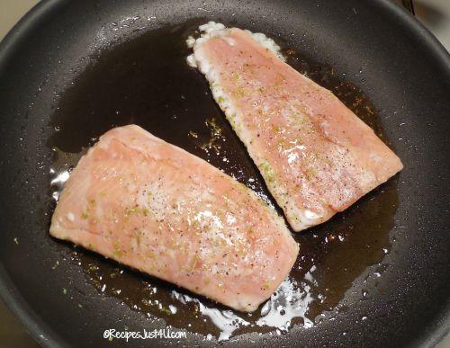 searing the salmon