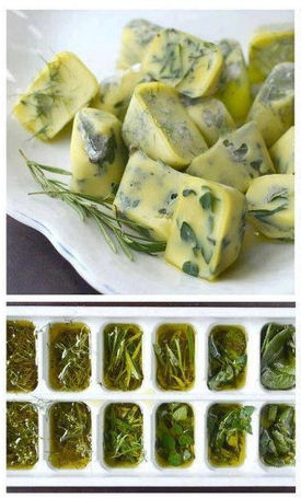 freeze your herbs in olive oil for recipe sized cubes at cooking time.