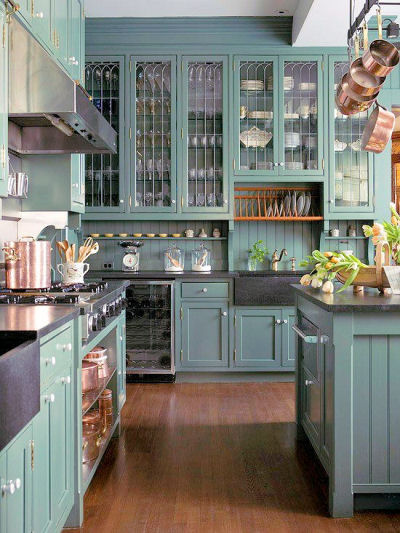 Kitchen with lots of color and plenty of cabinets.