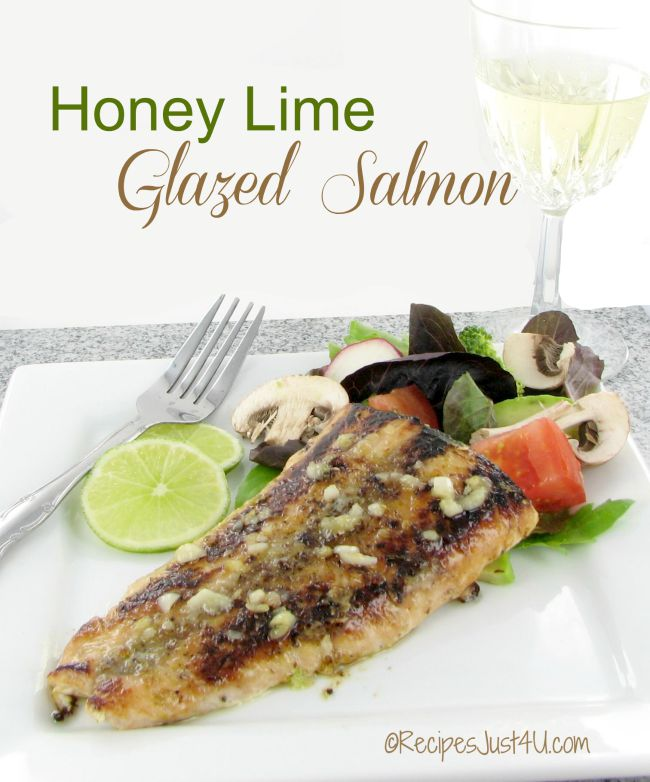 Honey glazed Salmon with brown butter lime sauce.  So tasty and easy to prepare too!