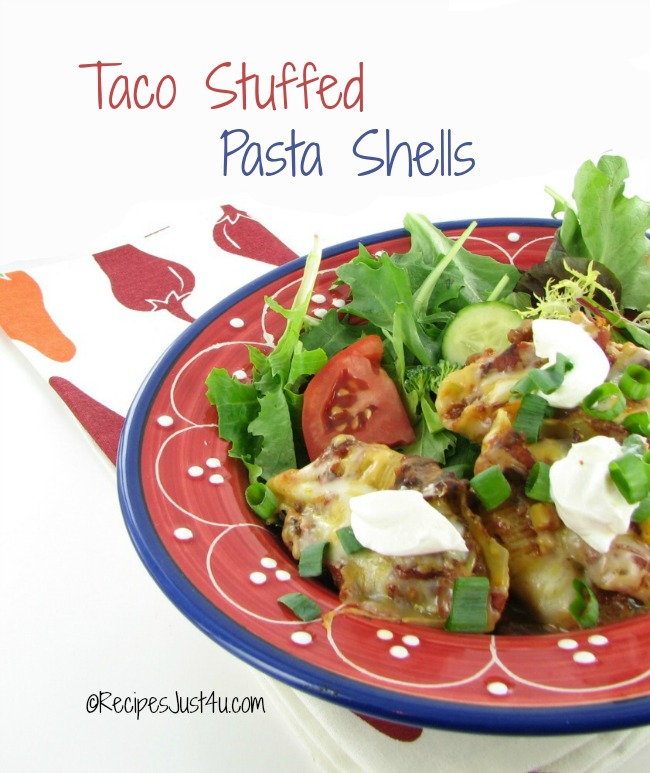 Taco stuffed Pasta Shells makes a great, easy week night meal that the kids will love.  Get the recipes at recipesjust4u.com/taco-stuffed-pasta-shells