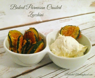 Baked Crusted parmesan zucchini from domesticmommyhood.com