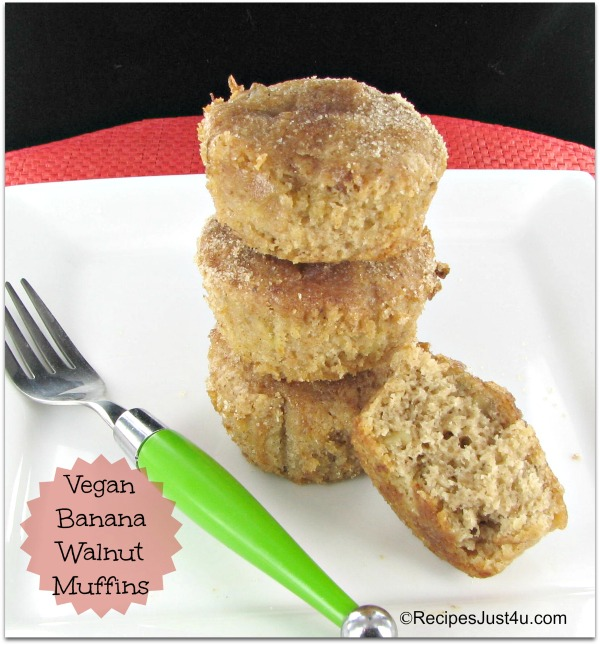 Vegan Muffins with bananas, nuts and coconut oil