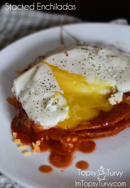 Stacked Tomato and cheese enchiladas