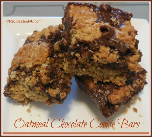... bar – chocolate fudge and oatmeal cookies. The end result is thick