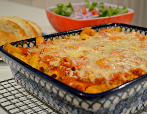 H(ome style baked Ziti caserole