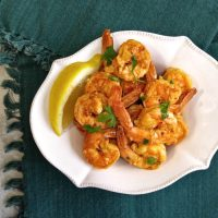 Bowl of spicy garlic parsley shrimp
