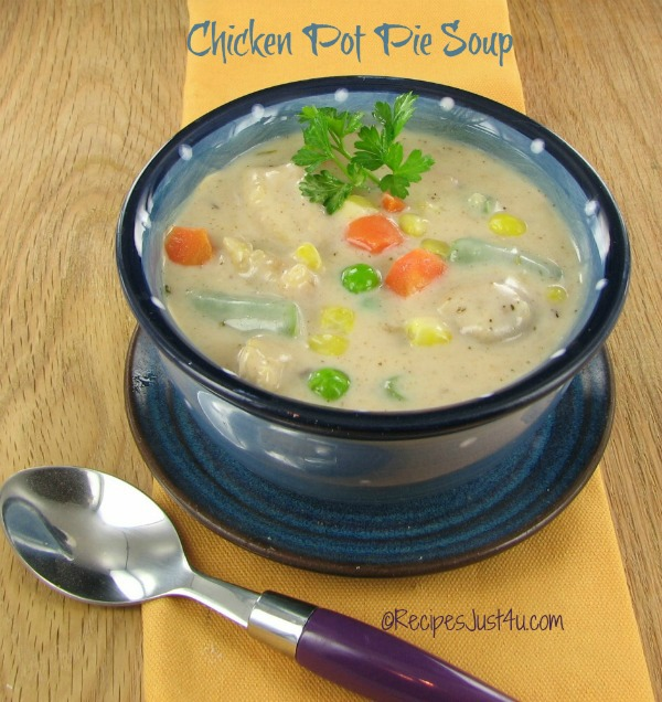 Chicken pot pie soup. Ready in 30 minutes!