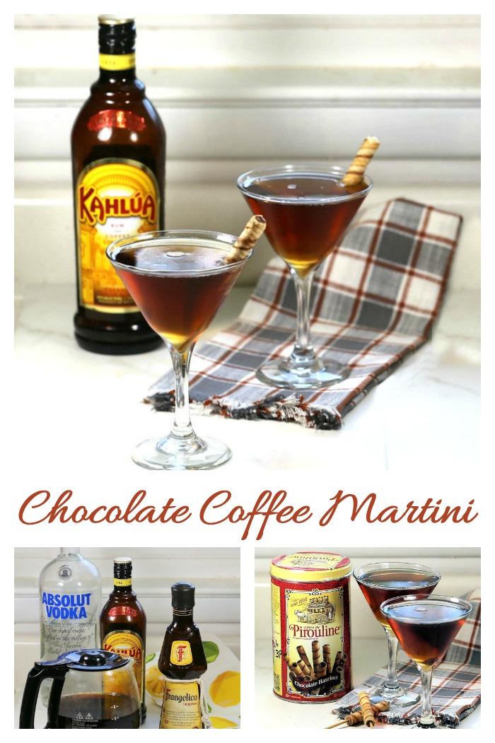 Chocolate coffee martini glasses, Kahlua and Pirioulines