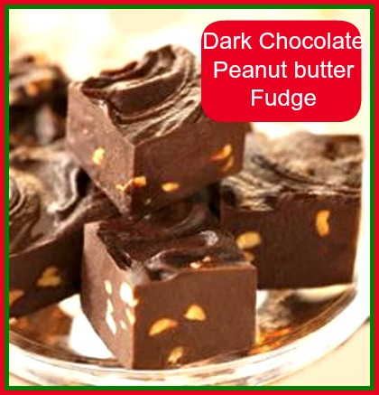 easy dark chocolate peanut butter fudge from thegardeningcook.com