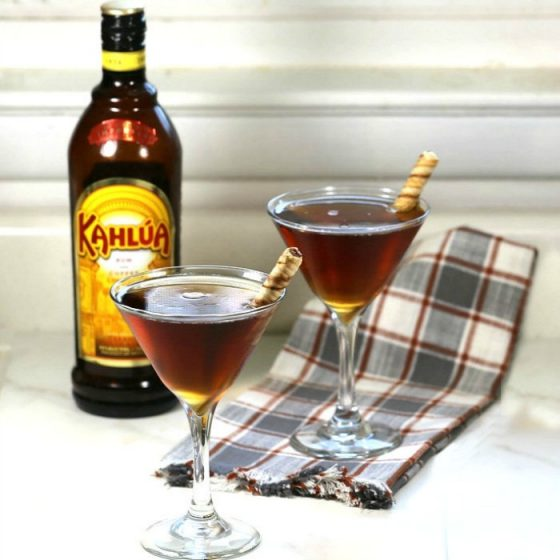 Coffee Vodka, Frangelico and Kahlua make a coffee martini