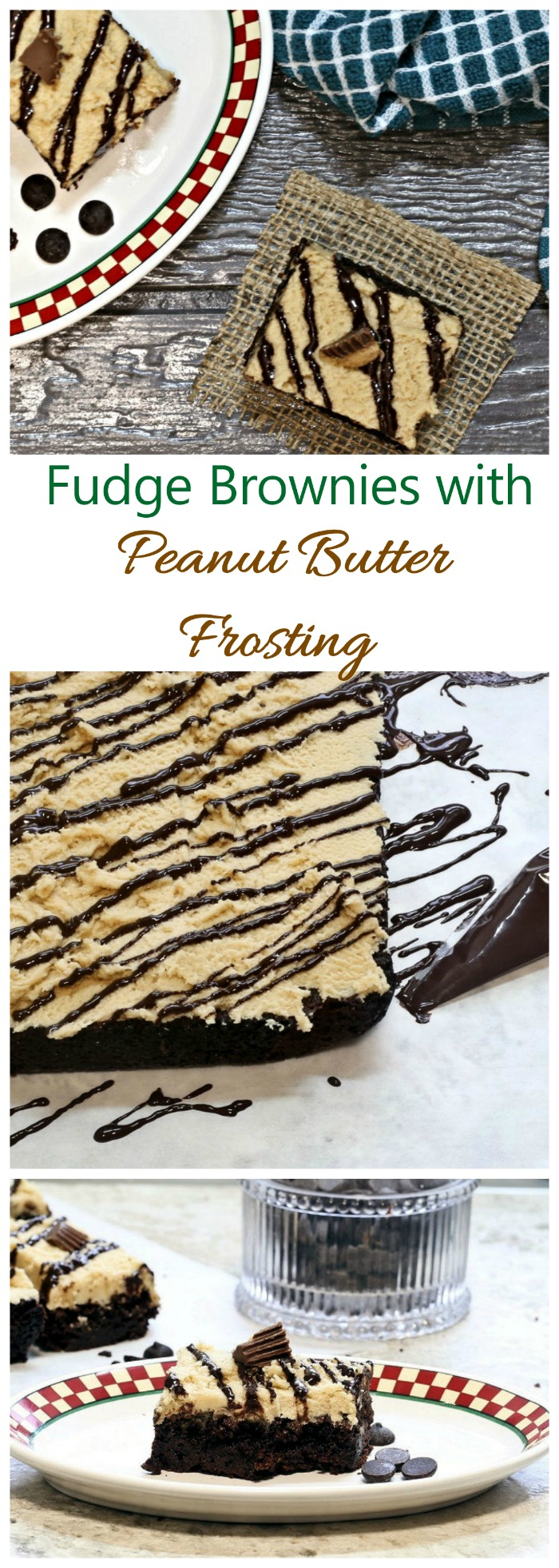 Fudge Brownies - Rich Brownie Recipe with Peanut Butter Frosting