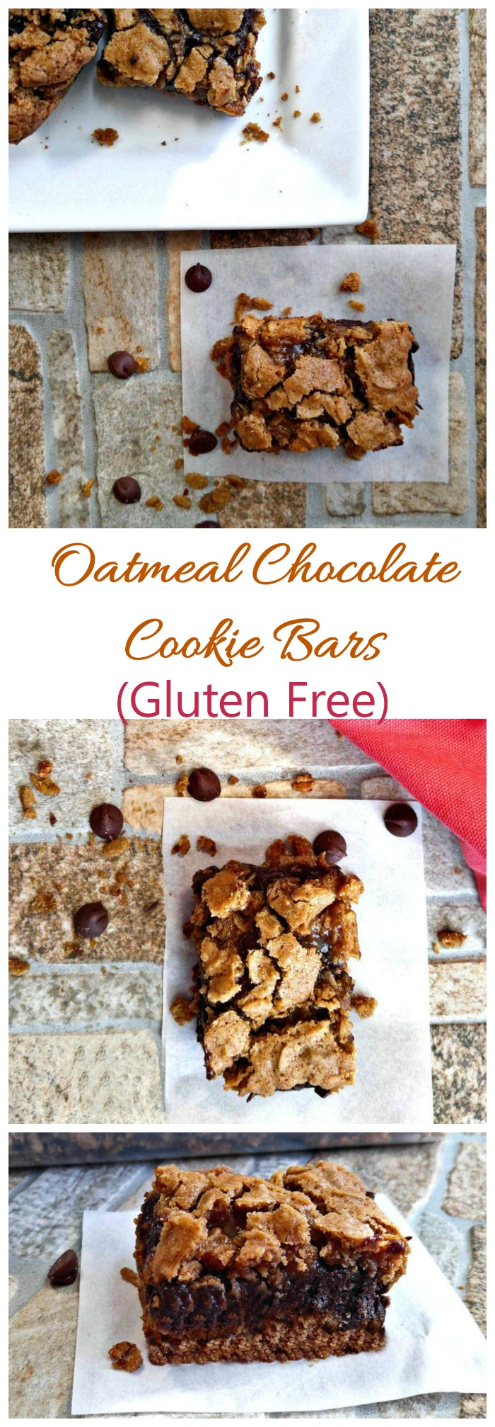 These hearty oatmeal chocolate cookie bars are gluten free and super easy to make.
