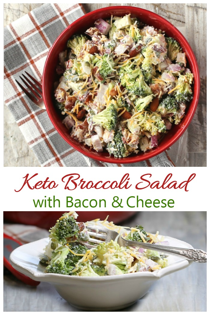 This keto broccoli salad has a tangy and sweet Greek yogurt dressing and is loaded with taste and texture.