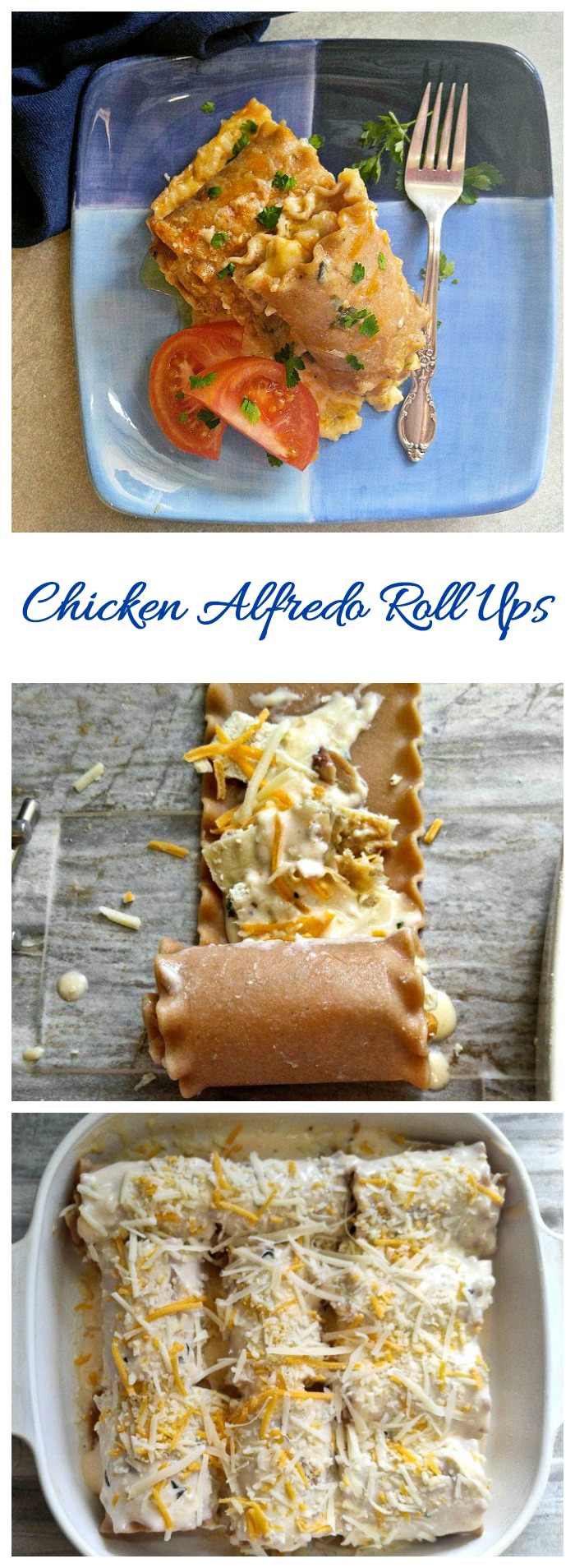 These chicken Alfredo Roll Ups have the flavor or both Lasagna and Alfredo sauce. They are easy to make and have been slimmed down to make them a bit more healthy. #lasagnarollups #pastarecipes