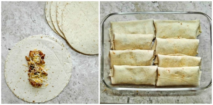 Making chicken enchiladas