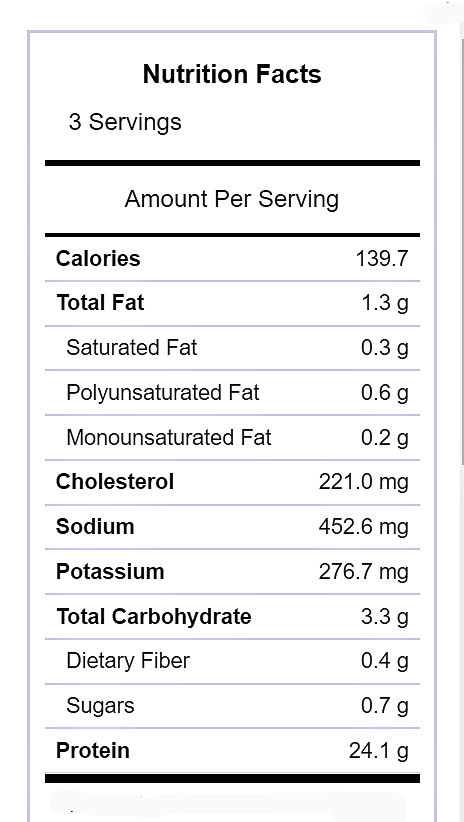 Nutritional information for spicy shrimp