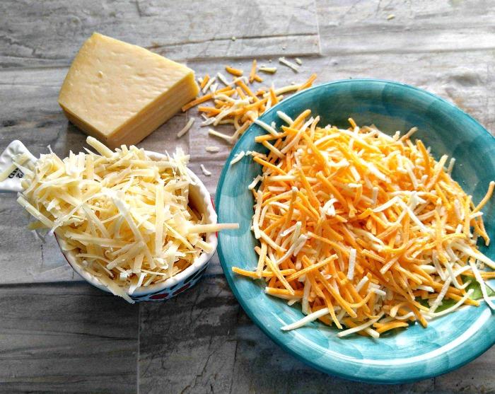 Fresh Parmesan cheese and cheddar cheese.