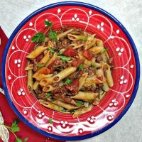 Easy ground Beef and pasta recipe in a red wine sauce