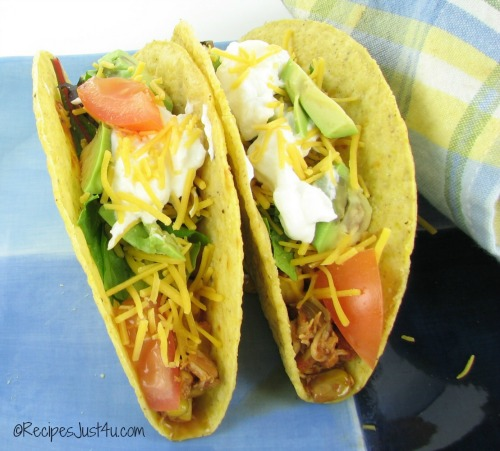 Crock pop salsa chicken tacos.