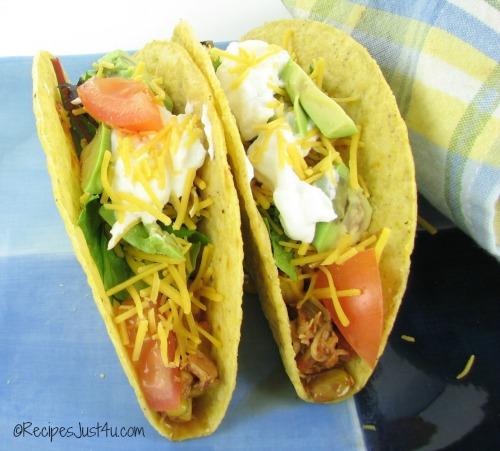 Crock pop salsa chicken tacos.