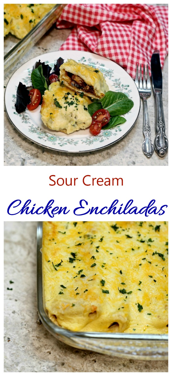 These chicken enchiladas have a spicy chili sour cream sauce. They are very easy to make and super tasty.