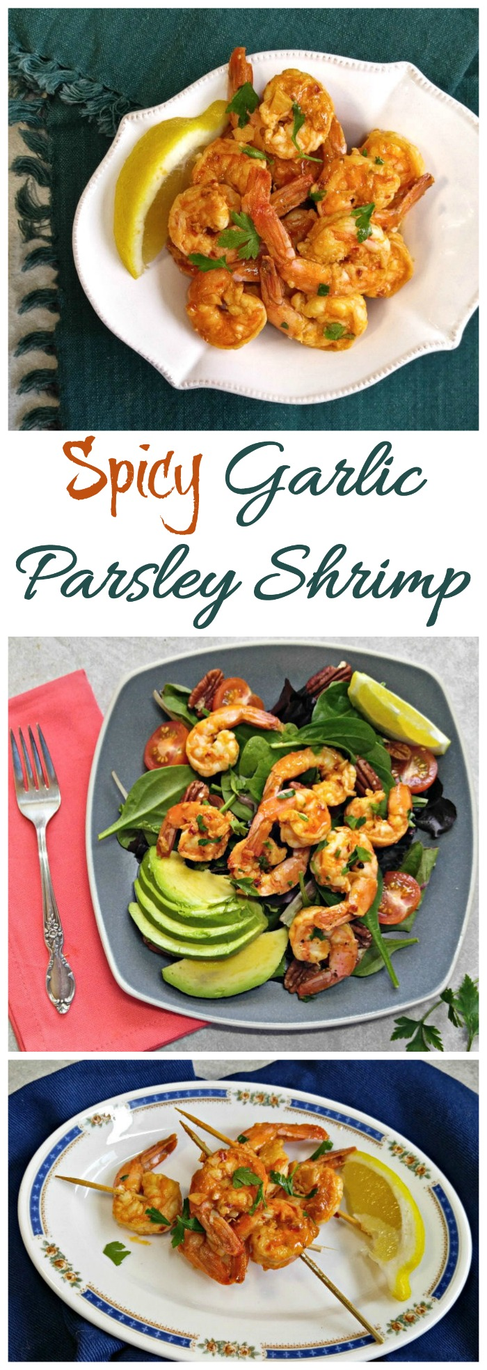 This spicy garlic parsley shrimp is perfect for salads, appetizers and as a main course. It is Who9le30, Paleo and gluten free. #garlicshrimp #spicyshrimp