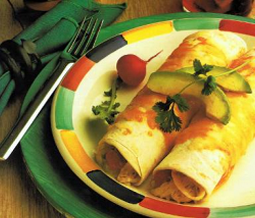 Green chili turkey enchiladas