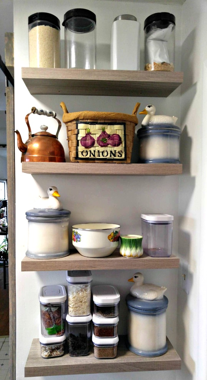 Floating shelves for storage in a small kitchen