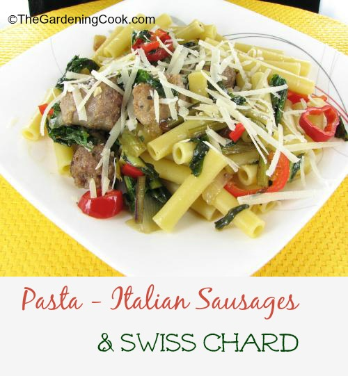 Ziti pasta with Swiss Chard and Italian sausage.