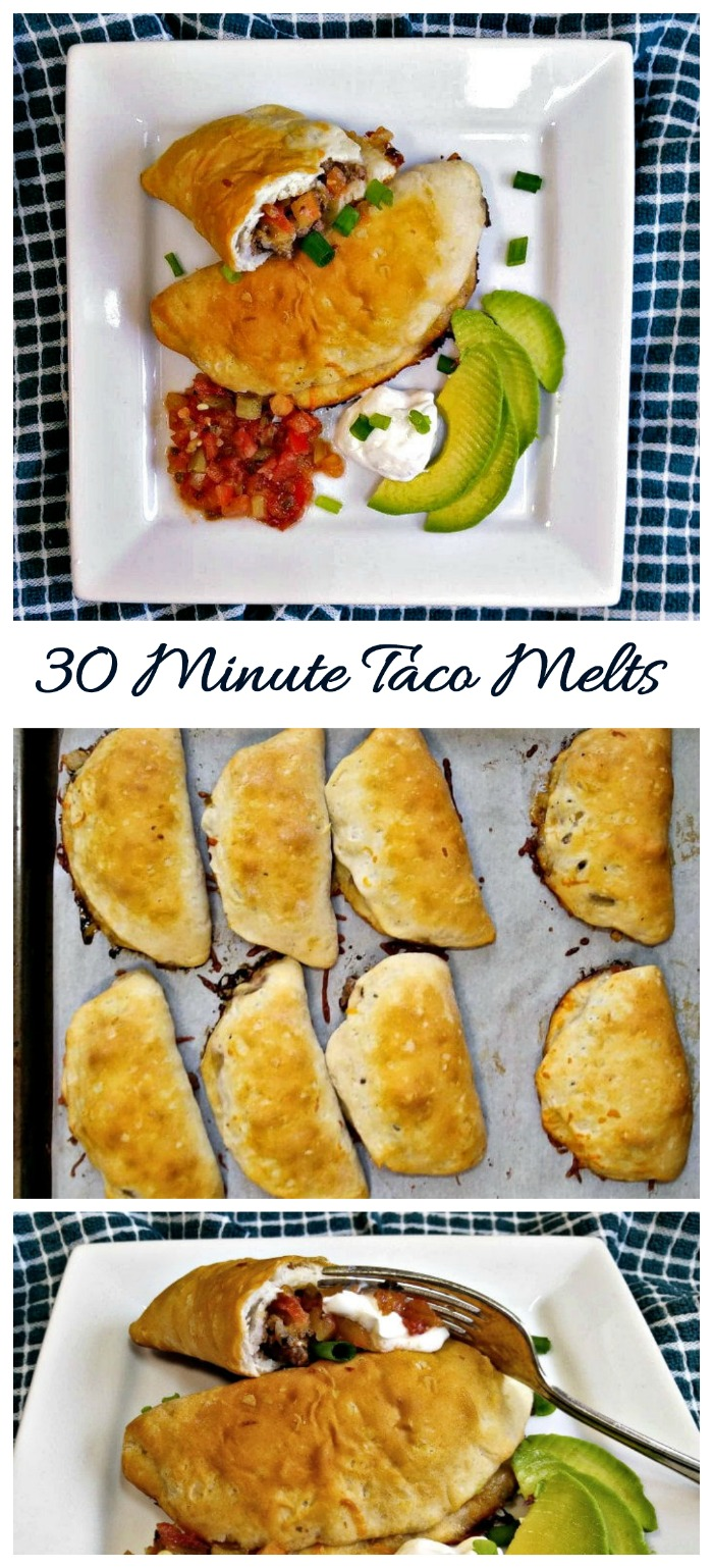These easy taco melts are ready in 30 minutes. They use a rolled out Grands biscuit filled with savory and spicy taco filling. So YUM!