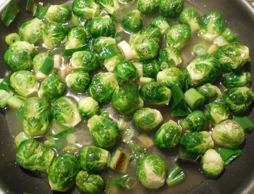 brussels sprouts in chicken broth.