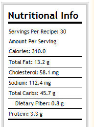 Calorie count for apple cinnamon cookie bars