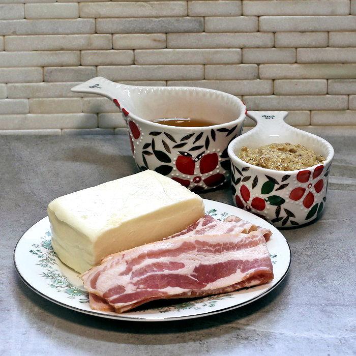 Bacon, mozzarella cheese, honey and mustard